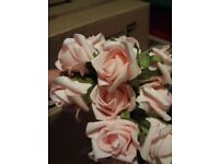 Baby pink single roses on wire stem