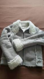 Girls Grey Suede Jacket - VGC - Age 10-11 Years