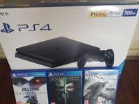 Brand new, unopened PS4 with 3 games (Used but in good condition)