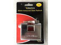 Sterling Armoured Steel Padlock 62mm ASP160 Garage Door Lock Bike Trailer Shed