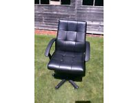 Black Leather Look Office Chair - Integral Arms - Adjustable - Bargain!