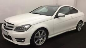 WHITE COUPE MERCEDES-BENZ C220 C250 D AMG LINE SPORT PREMIUM FROM £93 PER WEEK