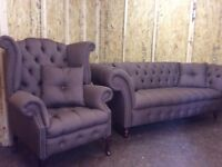 CHESTERFIELD SOFA AND SCROLL CHAIR BUTTONED SEATS.COLOUR BROWN FABRIC £850