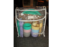 BN VINTAGE EARLY 1990s PLASTIC PICNIC SET (TUPPERWARE?) FOR 6 PEOPLE WITH ORIGINAL PACKAGING