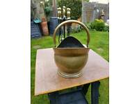 companion set plus solid brass scuttle