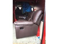 Brown 3 seater leather reclining sofa free free free free