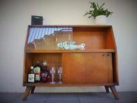 Mid Century teak oak Danish drinks book display cabinet Sideboard, Vintage Retro G-Plan era