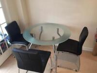 Harveys Glass Table and 4 Faux Leather Chairs