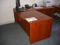 CHERRY veneered office desk/filing cabinet/bookcase