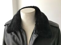 JOHN RICHMOND DESIGNER BLACK LEATHER FLYING JACKET - WITH DETACHABLE FUR COLLAR - ONLY £1O0!