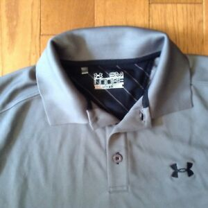 Under armour grey  men's polo shirt, great conditions
