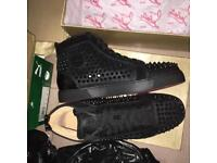 Christian Louboutin Moire high top Spiked Men's Red Bottom Sneakers