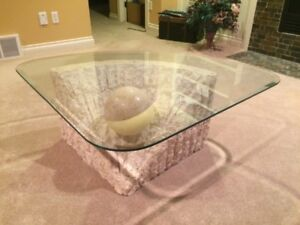 Marble and Glass Coffee Table and Matching Side Table