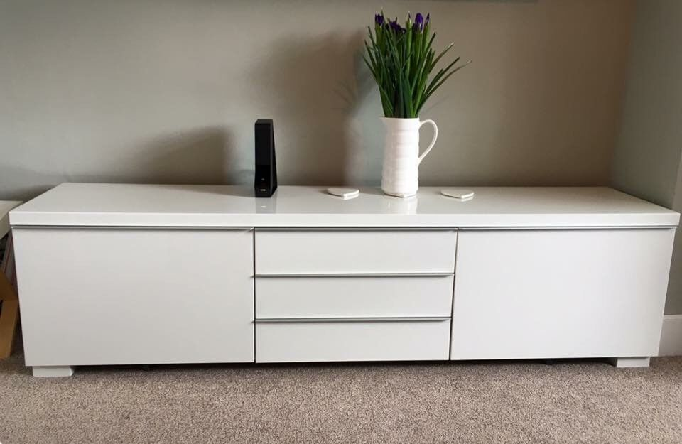 Ikea best burs tv unit high gloss white in york north for White gloss sideboards at ikea