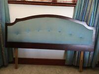 Minstrel mahogany framed blue velour double headboard