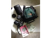 Canon EOS 3000 Film Camera with accessories