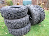 Five all terrain 4x4 KUMHO Road Venturer MT tyres (1 unused) for sale