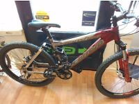 "Carrera banshee full suspension mountain bike 18"" frame alloy bicycle mtb working order"