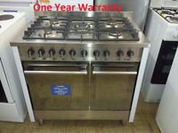 EX DISPLAY Indesit KP902GX 90cm Dual Fuel Range Cooker WITH ONE YEAR WARRANTY