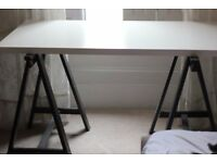 IKEA table (brown legs and white top)