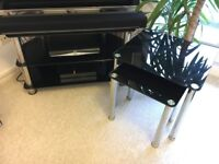 Glass TV stand and matching side tables