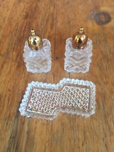 Vintage Crystal Salt & Pepper with Tray