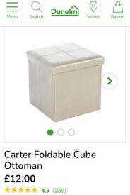 X2 Cream Foldable Cub Ottomans