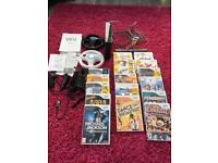 Black Nintendo Wii with 17 games, no power lead
