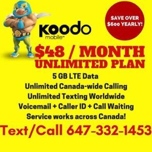 Koodo 6GB LTE DATA Plan • UNLIMITED • $48/Month NO CONTRACT!