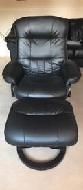 Leather reclining chair with stool