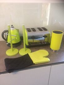 Green kettle, toaster, knife rack, mug tree, silicone glove and kitchen roll holder