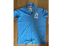 Hollister Mens Polo Shirt Blue 100% Soft Cotton Size Small