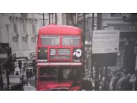 VERY Large Backed & Framed Picture Red London Victoria Bus