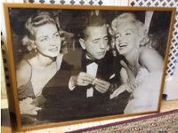 Large Framed Picture - Marilyn Monroe, Humphrey Bogart & Lauren Bacall
