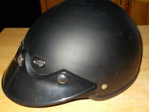 motorcycle helmet, half face shoel black worn a couple of times,