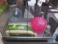 HAMSTER CAGE WITH BALL, WATER BOTTLE, WHEEL, WOOD SHAVINGS