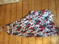 Maxi flowery summer beach dress size S or 10/12