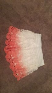Coral and white lace shorts