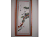 Chinese silk embroidery picture framed in walnut.