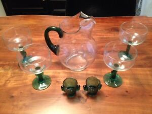 GLASS COCKTAIL SET. PITCHER, GLASSES, SHOOTERS