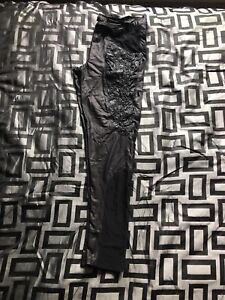 Ladies wet look and mesh spike Lip Service leggings size XL