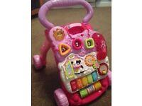 V tech first steps baby walker - pink