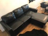 Black Faux Leather Corner Suite