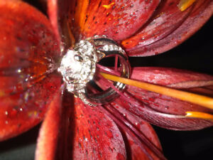 925 Silver Ring Flower Jewelry White Topaz Wedding Engagement S
