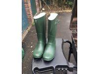 New green wellington boots