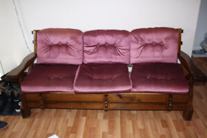 Living Room Set - Wooden couch and Wooden Chairs