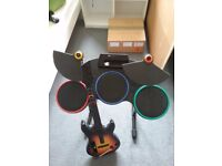 Nintendo Wii drum pads and guitar