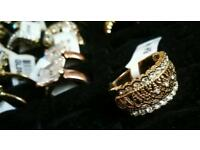 Gold Plated Crystal selection of Rings