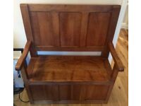Beautiful oak twin seat monks Bench with huge storage under seat.