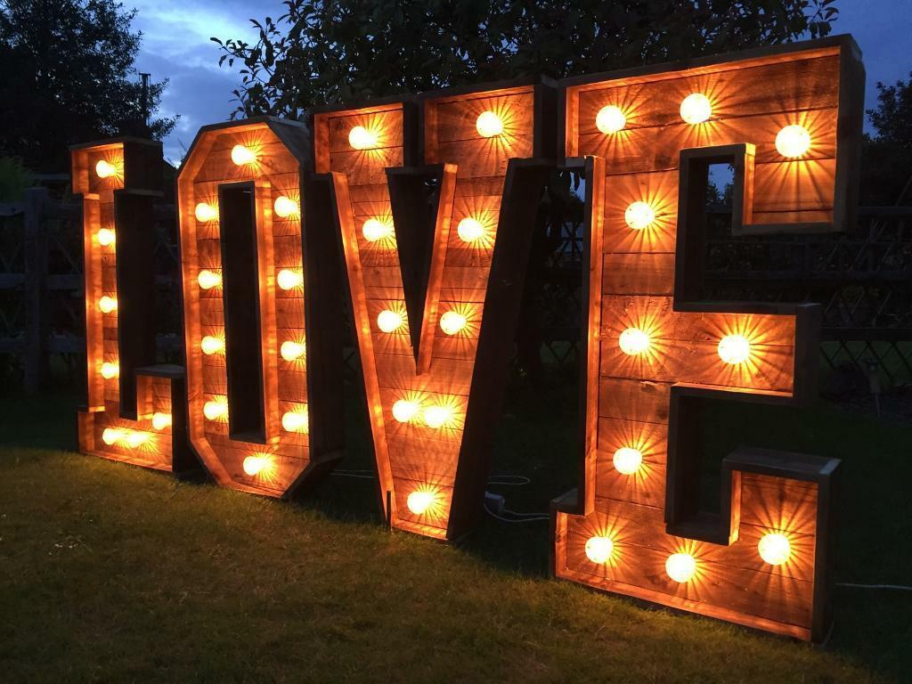 Love Lights Light Up Letters Giant Rustic Wood 4ft Love Letters